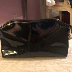 Dior black patent leather makeup bag